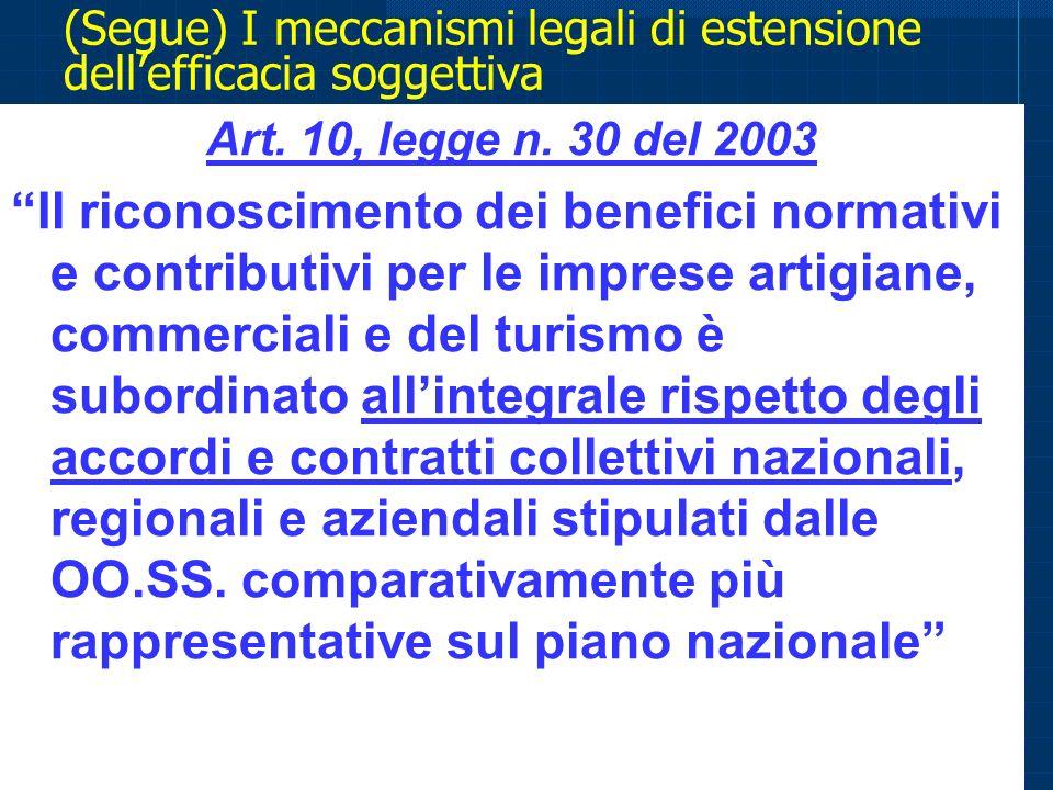 (Segue) I meccanismi legali di estensione dell'efficacia soggettiva