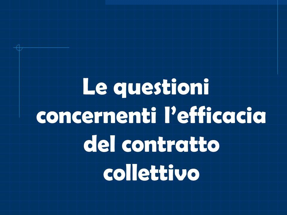 Le questioni concernenti l'efficacia del contratto collettivo