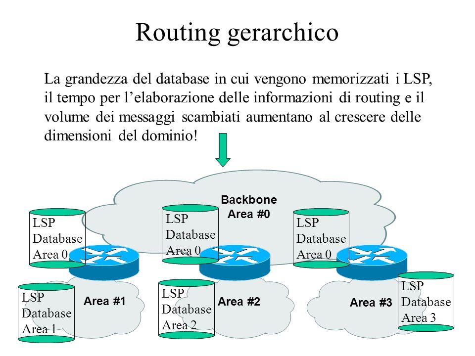 Routing gerarchico La grandezza del database in cui vengono memorizzati i LSP, il tempo per l'elaborazione delle informazioni di routing e il.