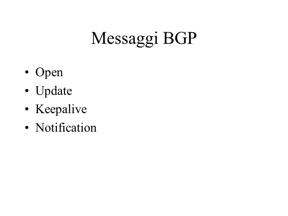 Messaggi BGP Open Update Keepalive Notification