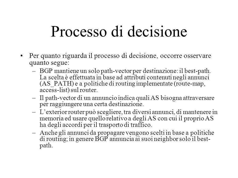 Processo di decisione Per quanto riguarda il processo di decisione, occorre osservare quanto segue: