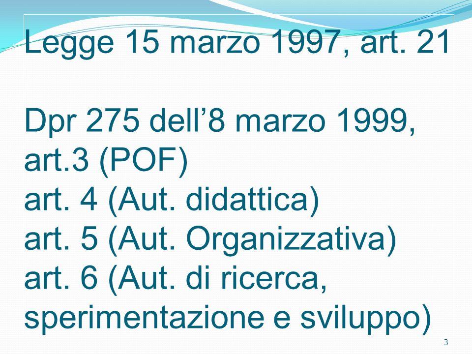Legge 15 marzo 1997, art. 21 Dpr 275 dell'8 marzo 1999, art