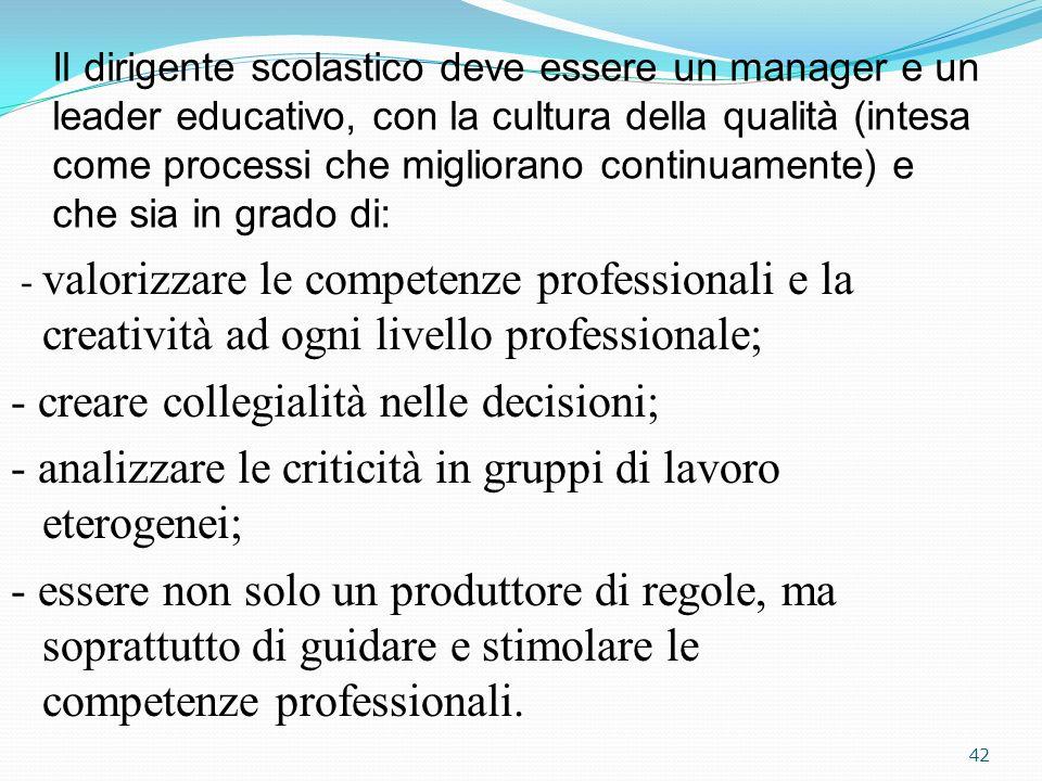 - creare collegialità nelle decisioni;