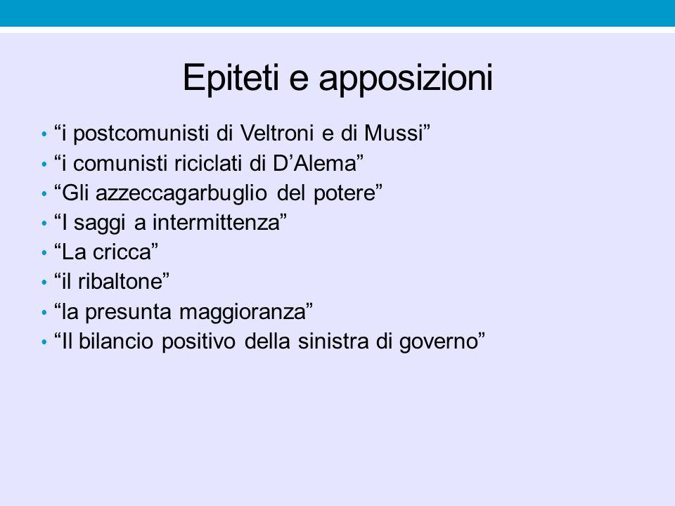 Epiteti e apposizioni i postcomunisti di Veltroni e di Mussi