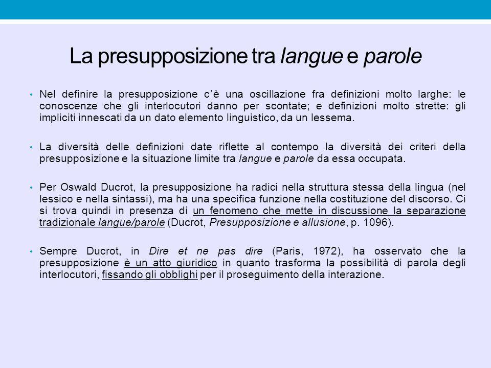 La presupposizione tra langue e parole