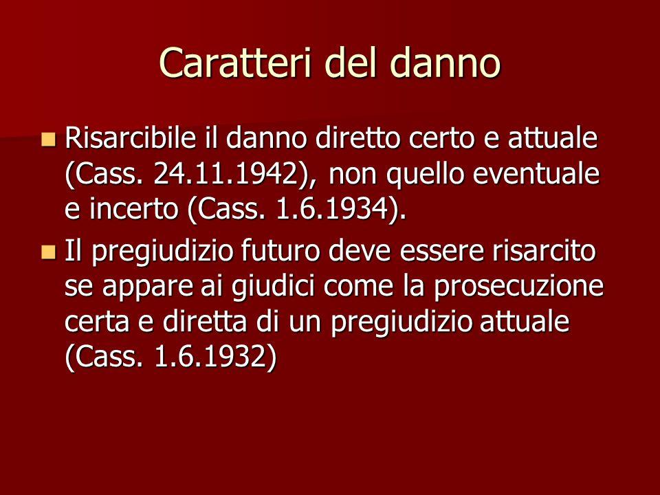 Caratteri del danno Risarcibile il danno diretto certo e attuale (Cass. 24.11.1942), non quello eventuale e incerto (Cass. 1.6.1934).