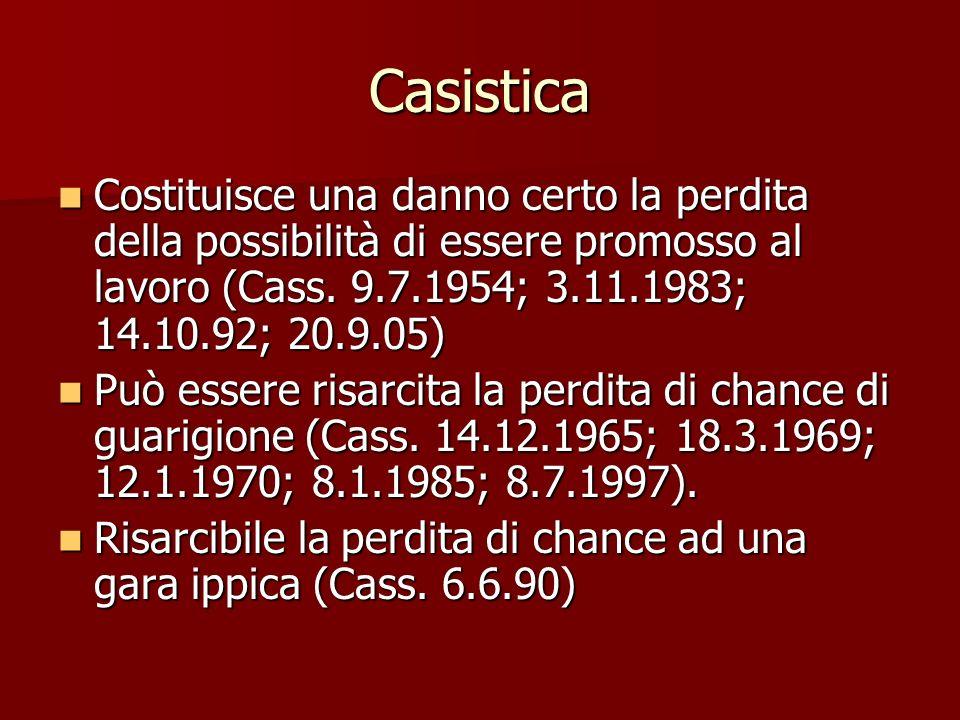 Casistica Costituisce una danno certo la perdita della possibilità di essere promosso al lavoro (Cass. 9.7.1954; 3.11.1983; 14.10.92; 20.9.05)