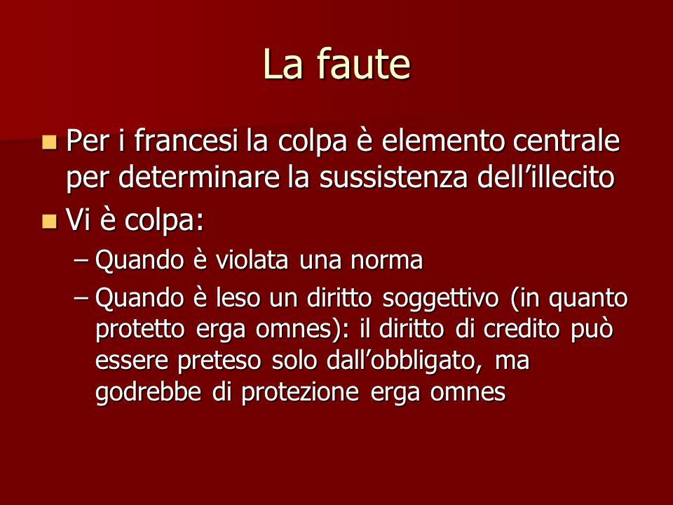 La faute Per i francesi la colpa è elemento centrale per determinare la sussistenza dell'illecito. Vi è colpa: