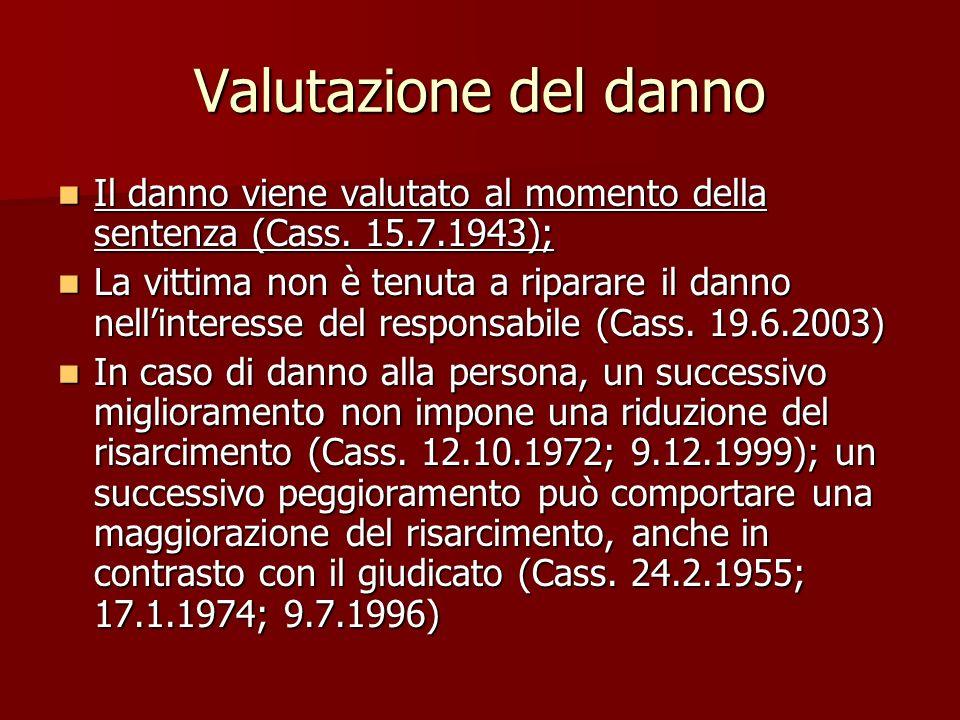 Valutazione del danno Il danno viene valutato al momento della sentenza (Cass. 15.7.1943);