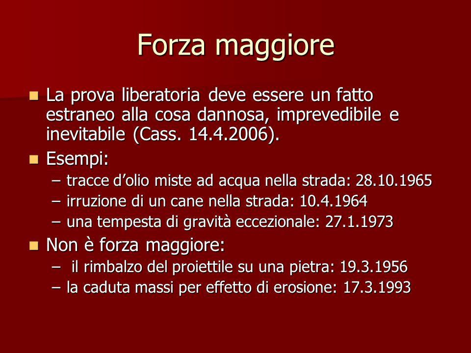 Forza maggiore La prova liberatoria deve essere un fatto estraneo alla cosa dannosa, imprevedibile e inevitabile (Cass. 14.4.2006).
