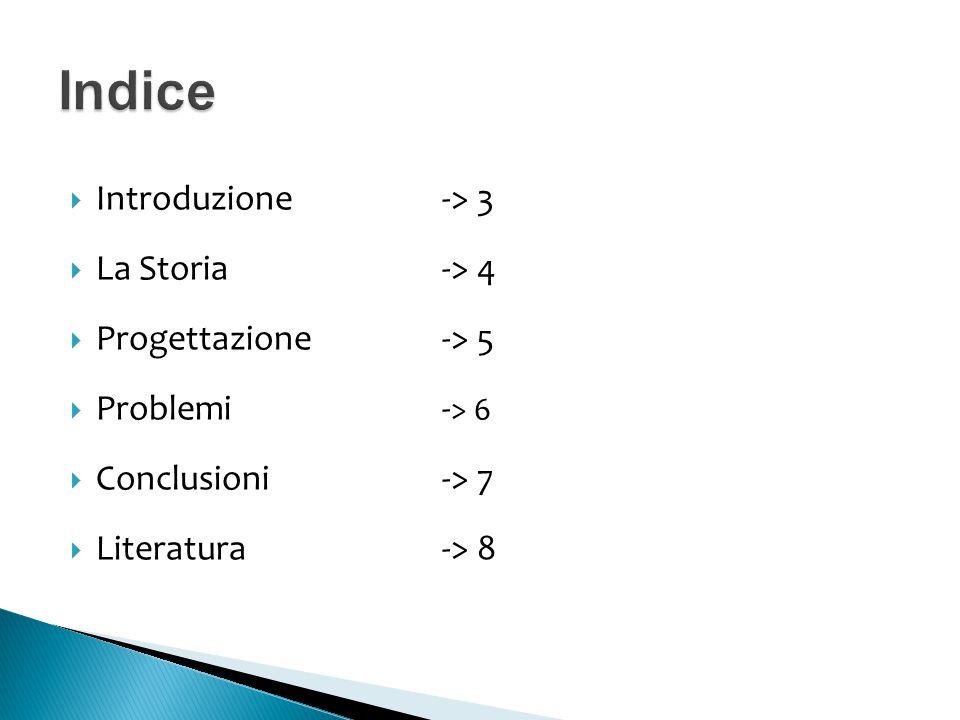 Indice Introduzione -> 3 La Storia -> 4 Progettazione -> 5