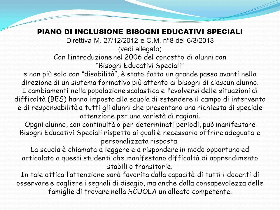 PIANO DI INCLUSIONE BISOGNI EDUCATIVI SPECIALI