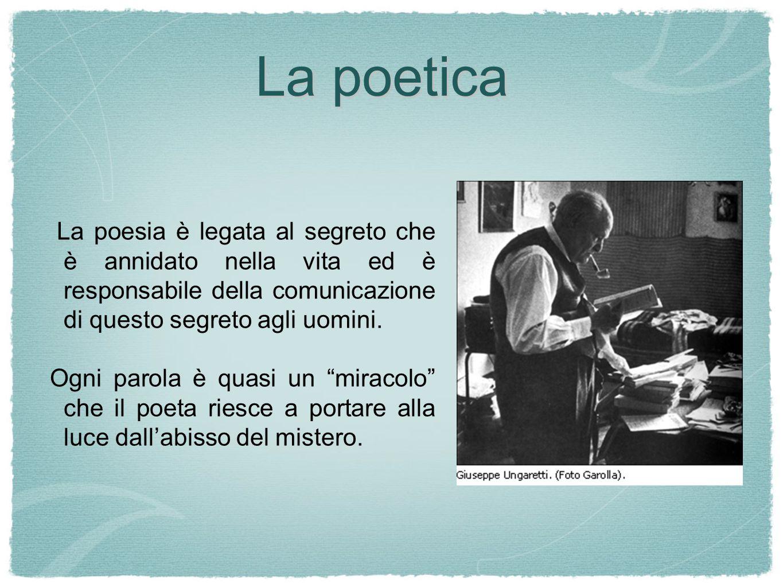 La poetica La poesia è legata al segreto che è annidato nella vita ed è responsabile della comunicazione di questo segreto agli uomini.