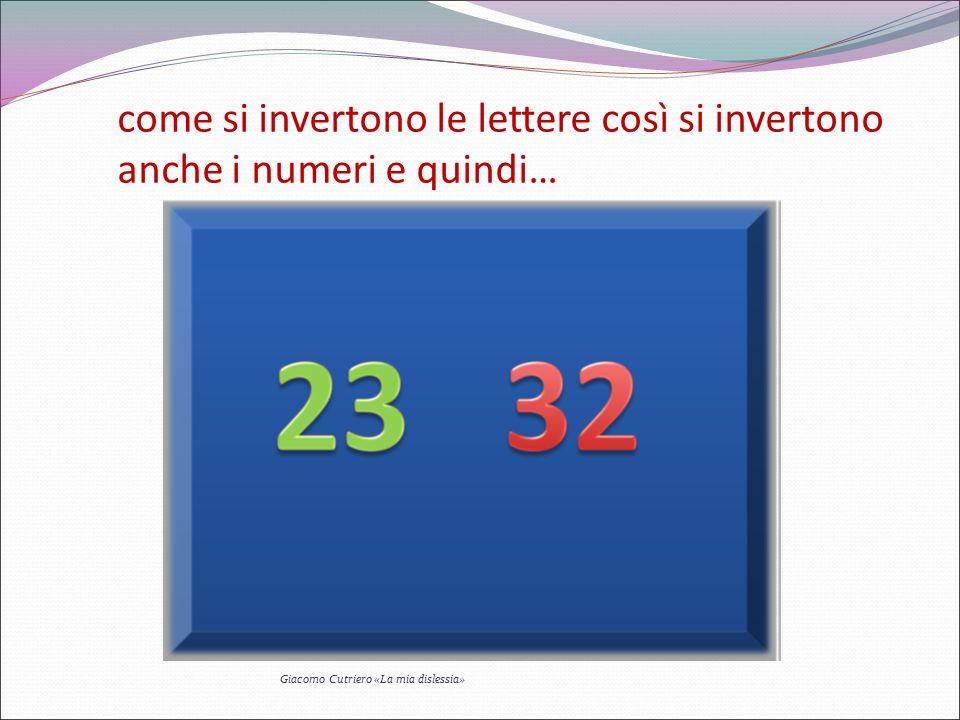 come si invertono le lettere così si invertono anche i numeri e quindi…