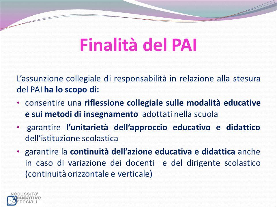 Finalità del PAI L'assunzione collegiale di responsabilità in relazione alla stesura del PAI ha lo scopo di: