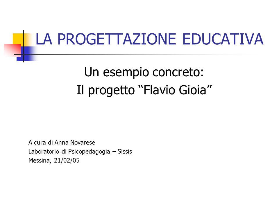 LA PROGETTAZIONE EDUCATIVA