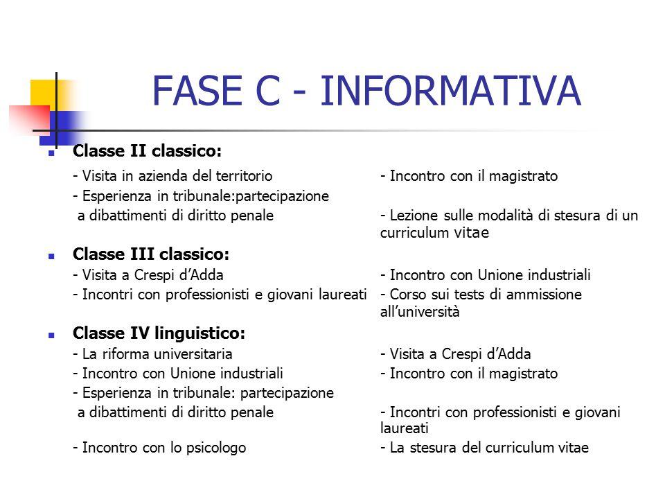 FASE C - INFORMATIVA Classe II classico: - Visita in azienda del territorio - Incontro con il magistrato.