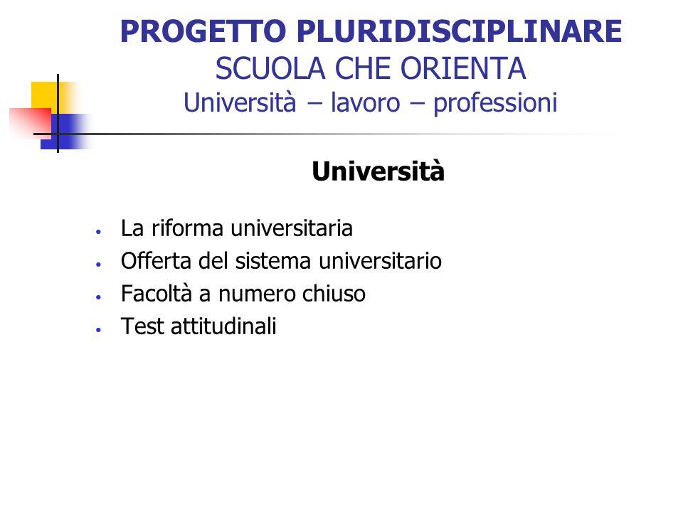 PROGETTO PLURIDISCIPLINARE SCUOLA CHE ORIENTA Università – lavoro – professioni