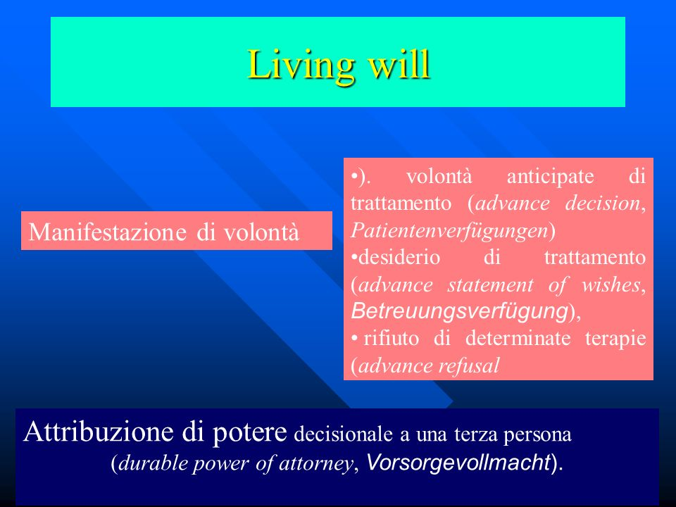 (durable power of attorney, Vorsorgevollmacht).