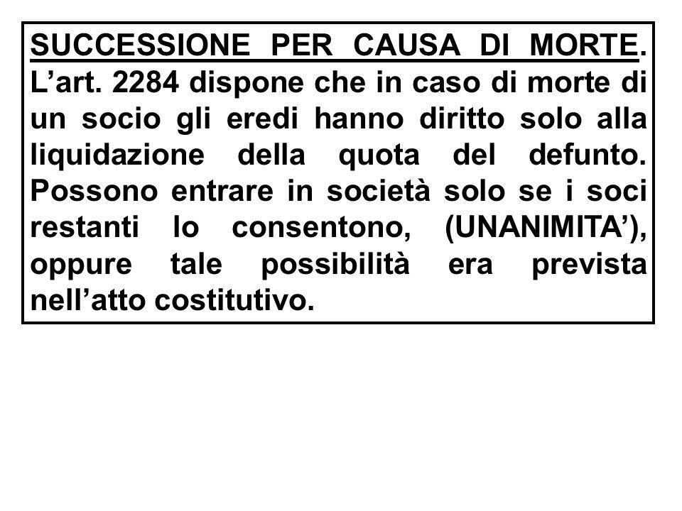 SUCCESSIONE PER CAUSA DI MORTE. L'art