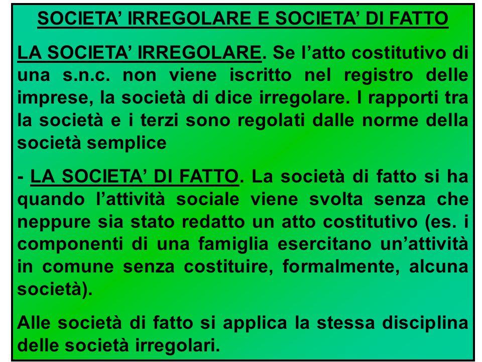 SOCIETA' IRREGOLARE E SOCIETA' DI FATTO