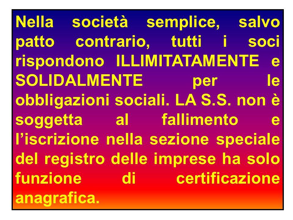 Nella società semplice, salvo patto contrario, tutti i soci rispondono ILLIMITATAMENTE e SOLIDALMENTE per le obbligazioni sociali.