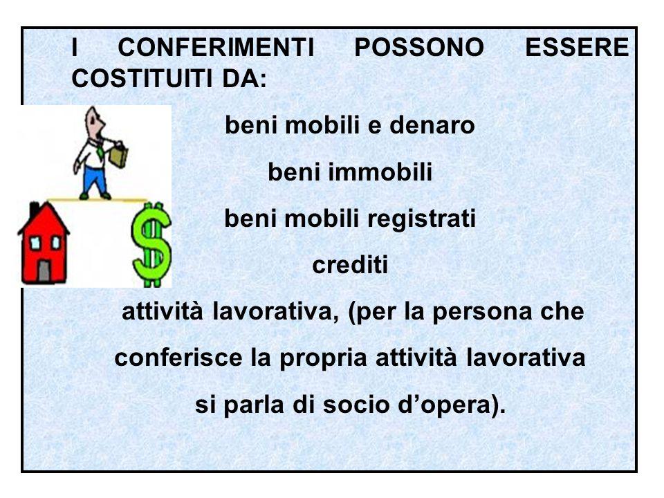 I CONFERIMENTI POSSONO ESSERE COSTITUITI DA: beni mobili e denaro