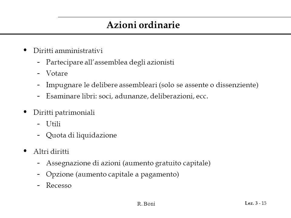 Azioni ordinarie Diritti amministrativi