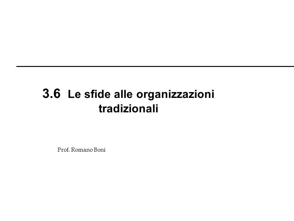 3.6 Le sfide alle organizzazioni tradizionali