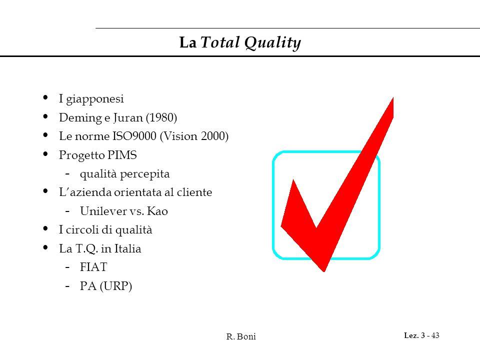 La Total Quality I giapponesi Deming e Juran (1980)