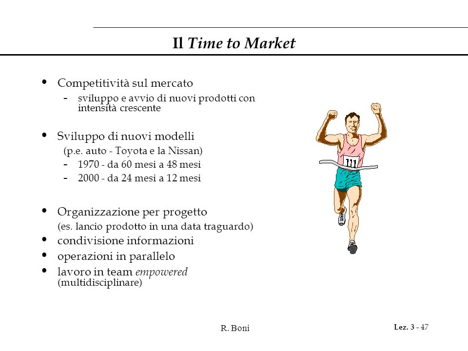 Il Time to Market Competitività sul mercato Sviluppo di nuovi modelli