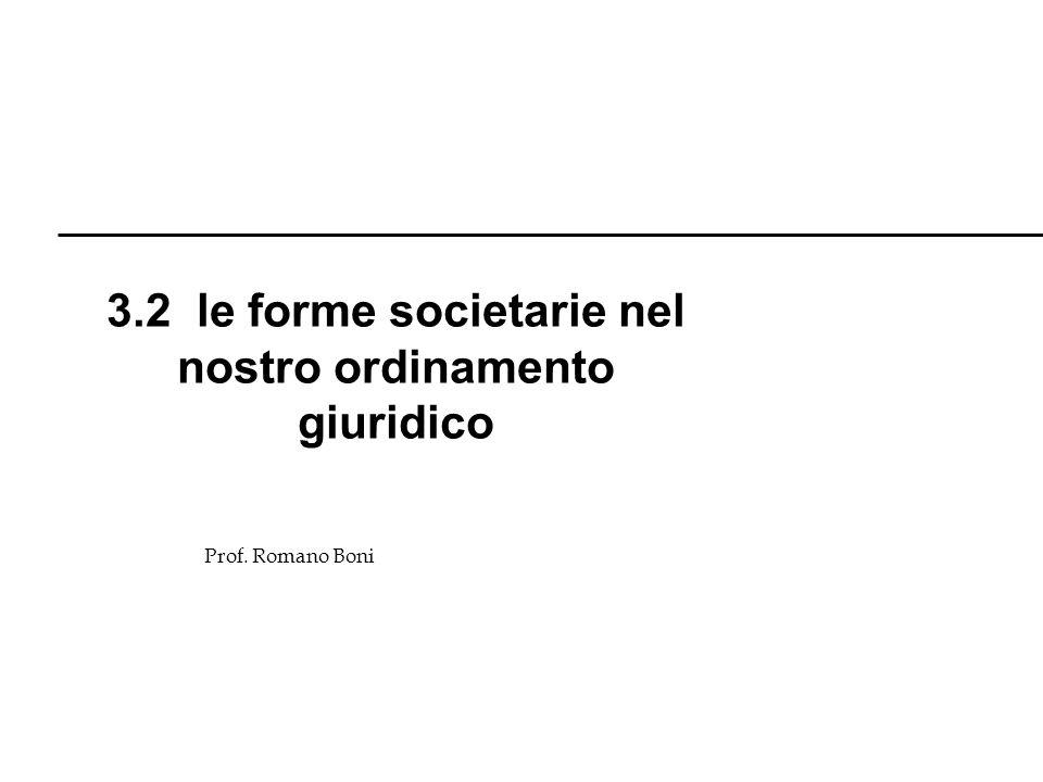 3.2 le forme societarie nel nostro ordinamento giuridico