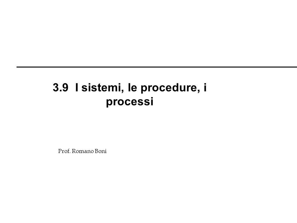 3.9 I sistemi, le procedure, i processi