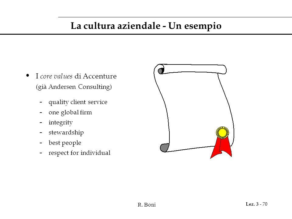 La cultura aziendale - Un esempio
