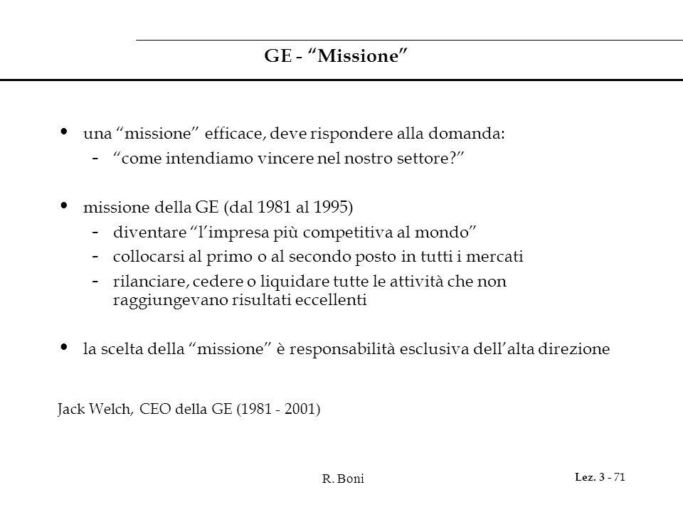 GE - Missione una missione efficace, deve rispondere alla domanda: