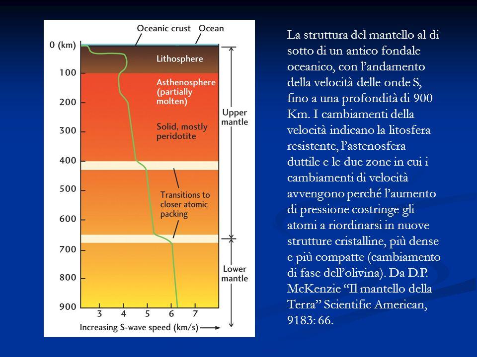 La struttura del mantello al di sotto di un antico fondale oceanico, con l'andamento della velocità delle onde S, fino a una profondità di 900 Km.