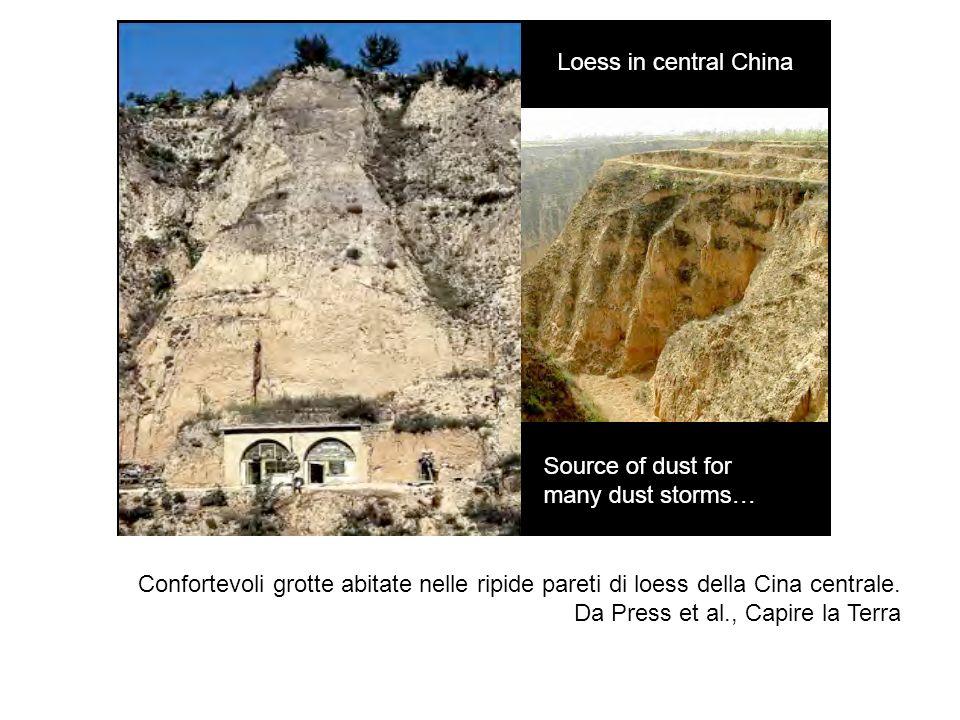 Confortevoli grotte abitate nelle ripide pareti di loess della Cina centrale.
