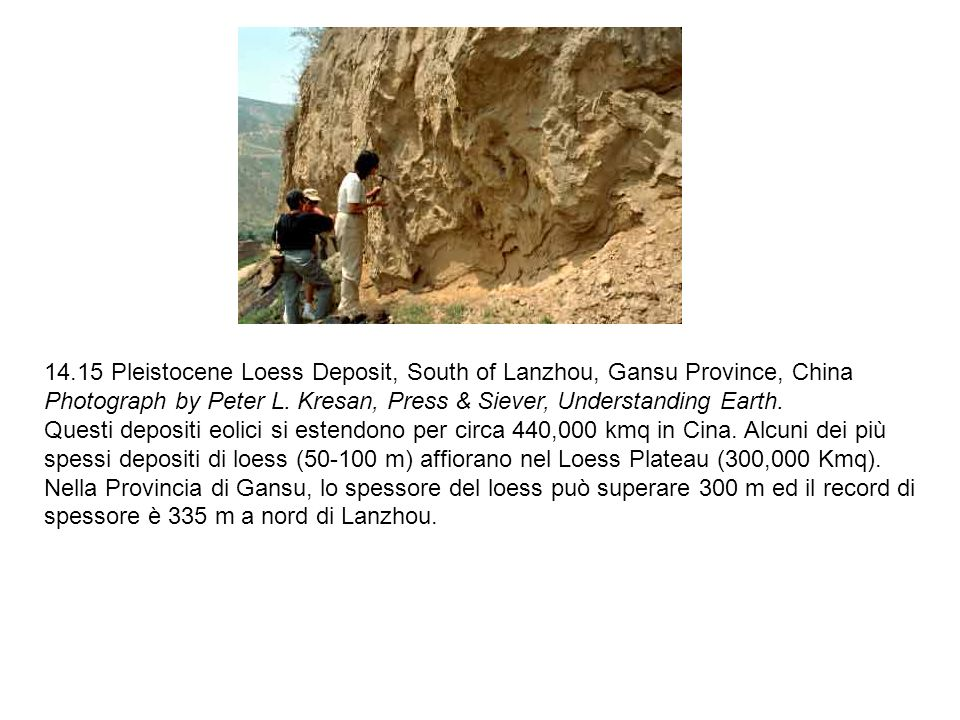 14.15 Pleistocene Loess Deposit, South of Lanzhou, Gansu Province, China Photograph by Peter L. Kresan, Press & Siever, Understanding Earth.