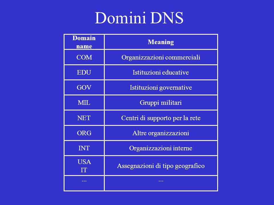 Domini DNS Domain name Meaning COM Organizzazioni commerciali EDU