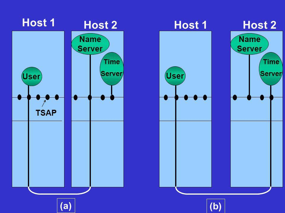 Host 1 Host 2 Host 1 Host 2 (a) (b) Name Server Name Server User User