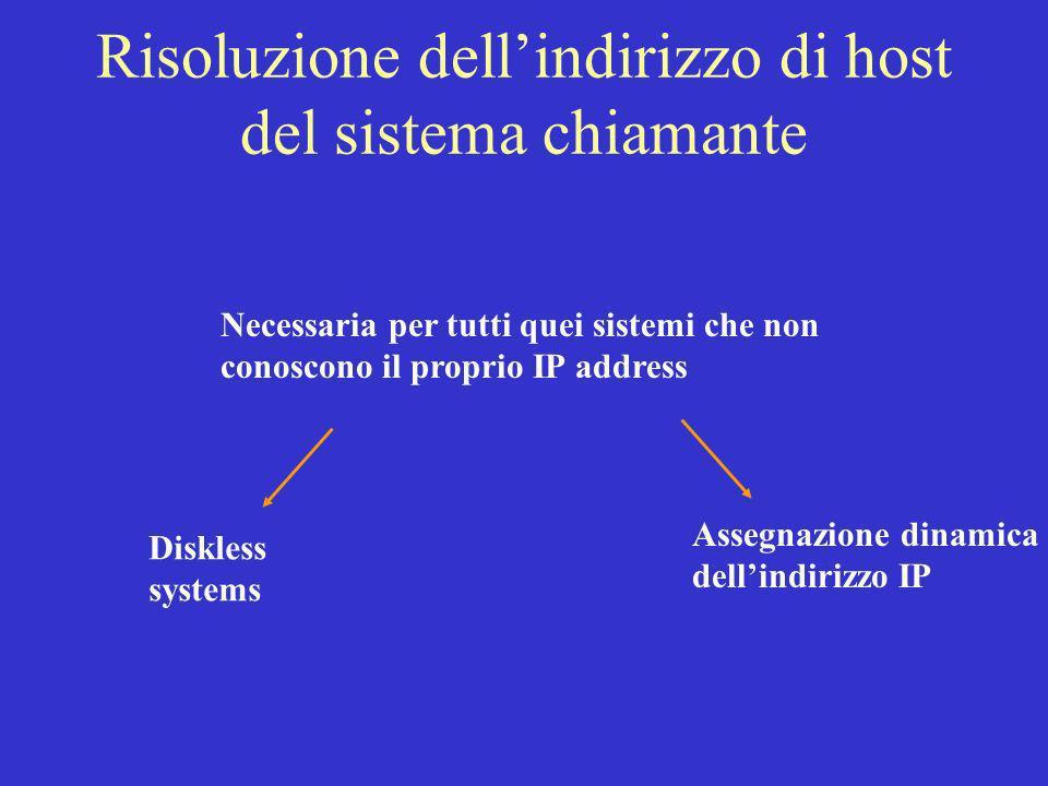 Risoluzione dell'indirizzo di host del sistema chiamante