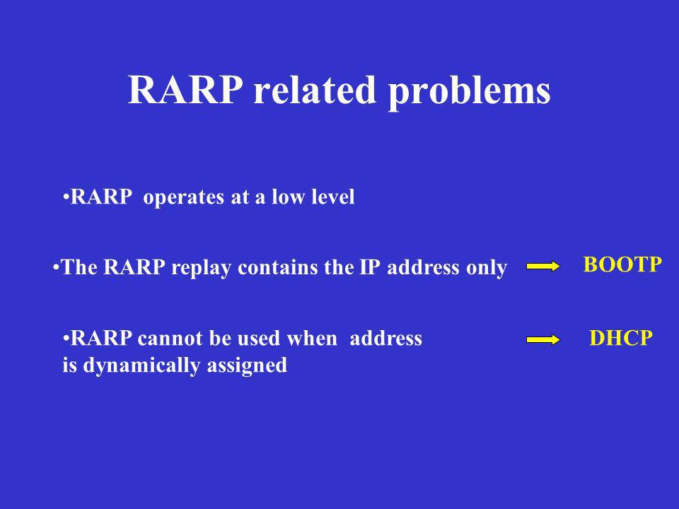 RARP related problems RARP operates at a low level