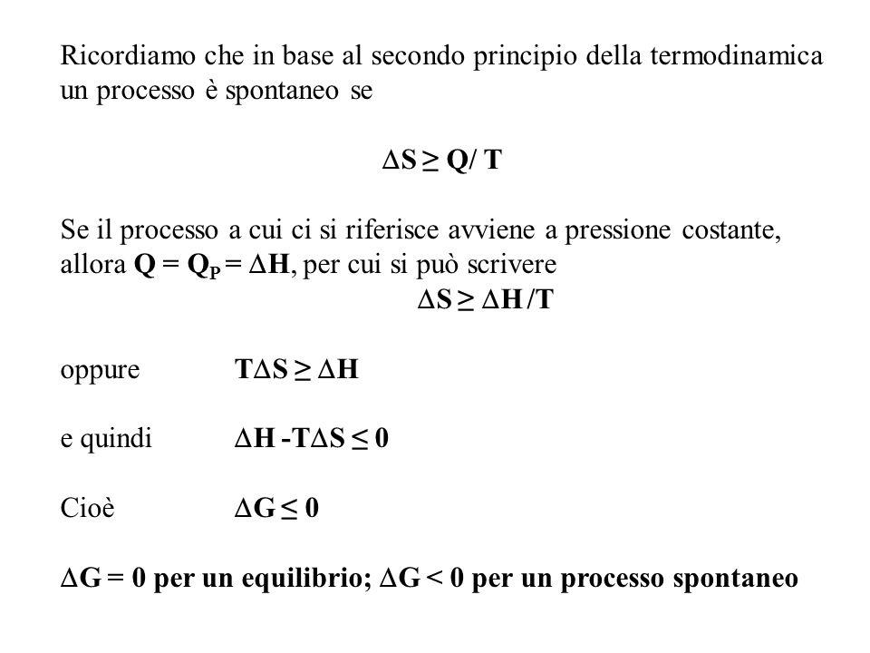 Ricordiamo che in base al secondo principio della termodinamica un processo è spontaneo se