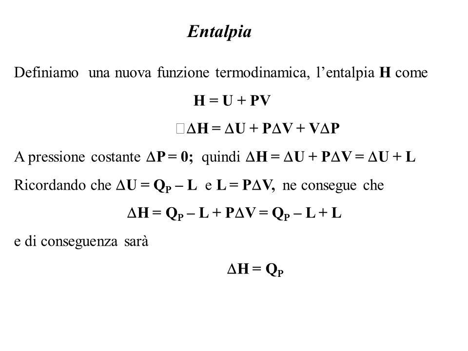 Entalpia Definiamo una nuova funzione termodinamica, l'entalpia H come
