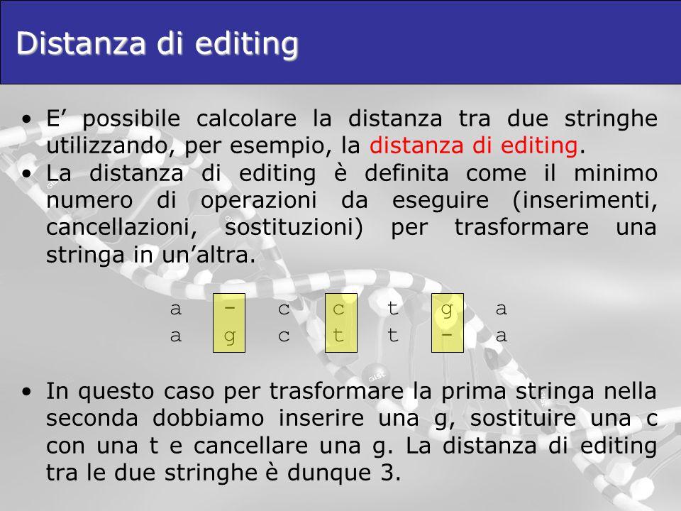 Distanza di editing E' possibile calcolare la distanza tra due stringhe utilizzando, per esempio, la distanza di editing.