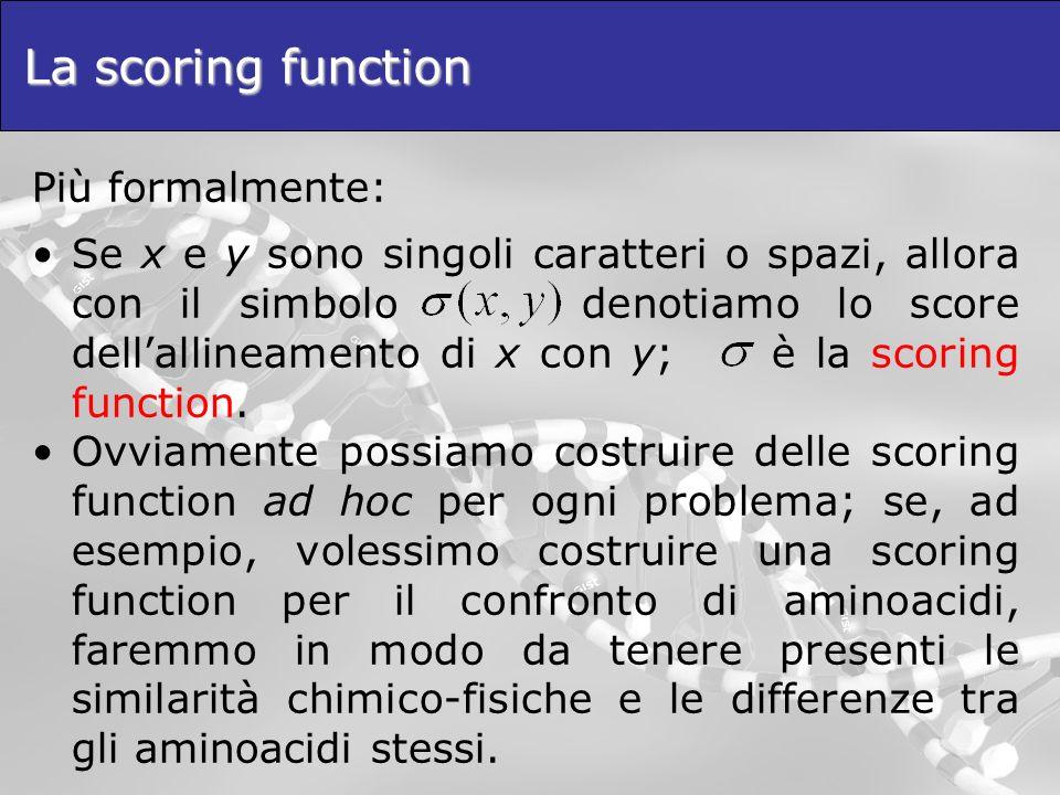 La scoring function Più formalmente:
