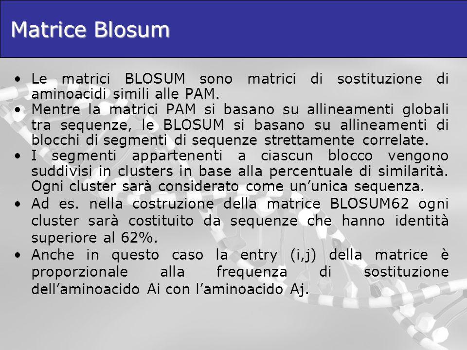 Matrice Blosum Le matrici BLOSUM sono matrici di sostituzione di aminoacidi simili alle PAM.