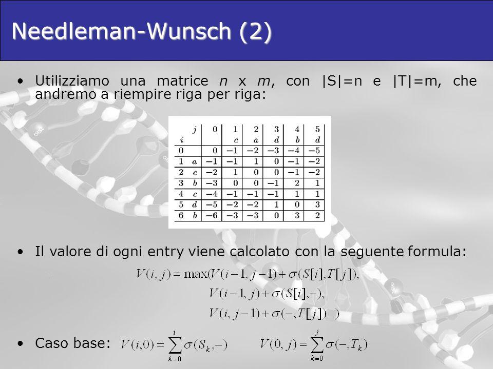Needleman-Wunsch (2) Utilizziamo una matrice n x m, con |S|=n e |T|=m, che andremo a riempire riga per riga: