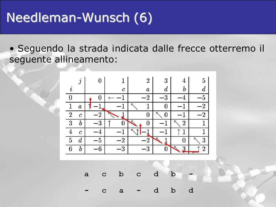 Needleman-Wunsch (6) Seguendo la strada indicata dalle frecce otterremo il seguente allineamento: a.