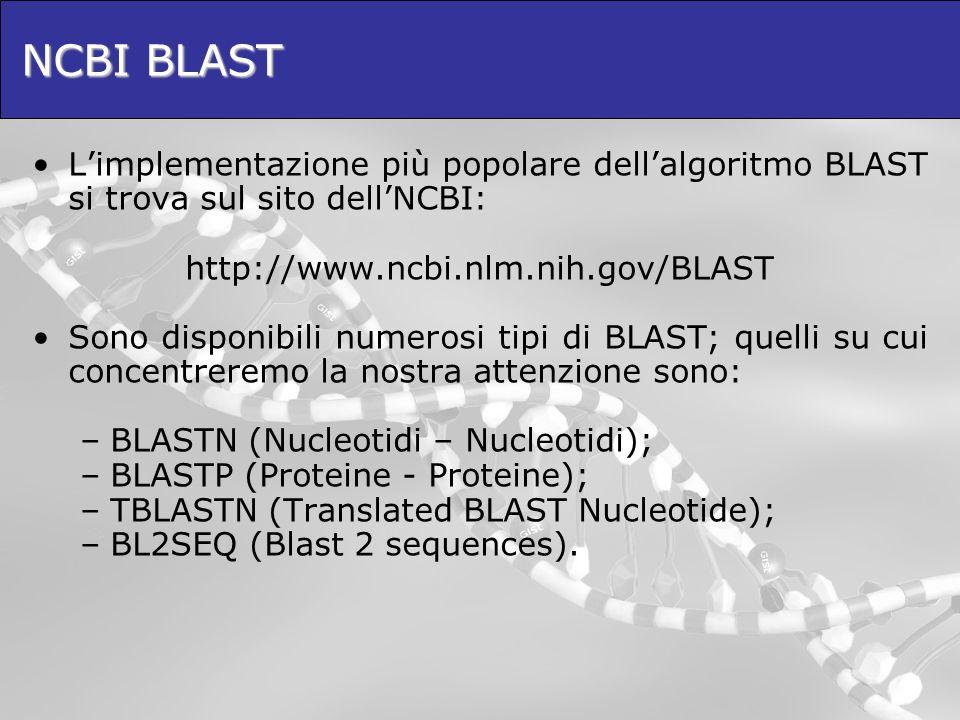NCBI BLAST L'implementazione più popolare dell'algoritmo BLAST si trova sul sito dell'NCBI: http://www.ncbi.nlm.nih.gov/BLAST.